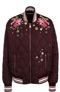 Стеганый бомбер с вышивкой и декоративной отделкой Dolce & Gabbana