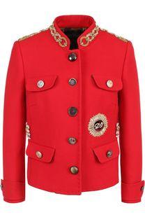 Жакет прямого кроя с декоративной отделкой и воротником-стойкой Dolce & Gabbana