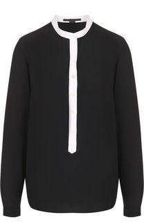 Шелковая блуза с воротником-стойкой и контрастной отделкой Stella McCartney