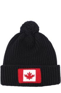 Шерстяная шапка фактурной вязки с помпоном и нашивкой Dsquared2