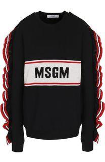 Хлопковый пуловер с оборками и круглым вырезом MSGM