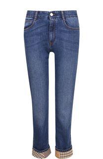 Укороченные джинсы с потертостями и отворотами Stella McCartney