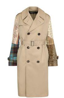 Двубортное пальто с декорированными рукавами и поясом Junya Watanabe
