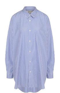 Хлопковая блуза свободного кроя в полоску Junya Watanabe
