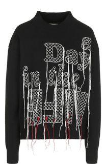 Шерстяной свитер с контрастной вышивкой Sacai