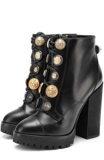 Кожаные ботильоны с металлической отделкой на массивном каблуке Dolce & Gabbana