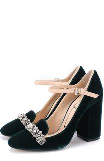 Бархатные туфли с кристаллами на устойчивом каблуке No. 21