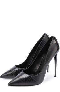 Кожаные туфли с тиснением на шпильке Philipp Plein