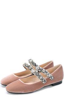 Бархатные балетки с кристаллами No. 21