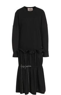 Платье-миди с длинным рукавом и драпировкой Yohji Yamamoto