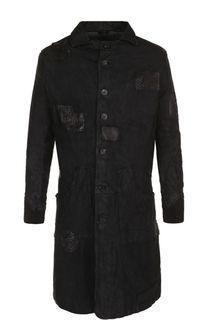 Кожаное пальто на пуговицах прямого кроя Giorgio Brato