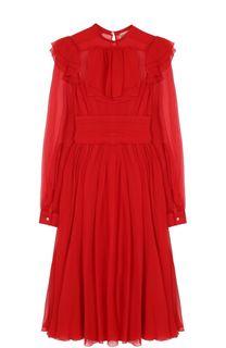 Приталенное платье-миди с длинным рукавом и оборками No. 21
