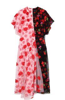 Платье с цветочной вышивкой и V-образным вырезом Simone Rocha