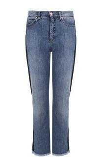 Укороченные джинсы с потертостями и лампасами Escada Sport