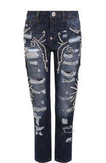 Укороченные джинсы с потертостями и стразами Philipp Plein