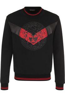 Хлопковый свитшот с кожаной отделкой Versace