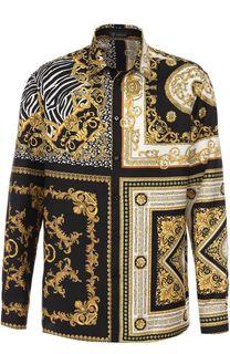 Шелковая сорочка с принтом Versace
