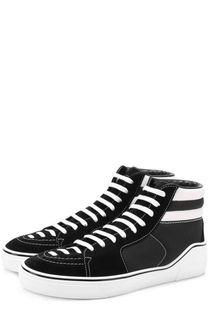 Высокие комбинированные кеды на шнуровке Givenchy