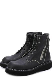 Высокие кожаные ботинки на шнуровке с молниями Premiata