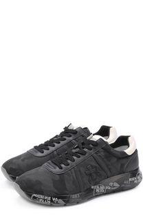 Текстильные кроссовки на шнуровке с кожаной отделкой Premiata