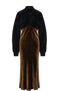 Приталенное бархатное платье-миди Dries Van Noten