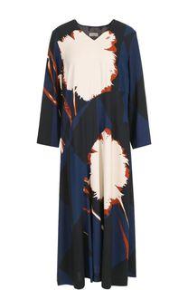 Платье свободного кроя с принтом и V-образным вырезом Dries Van Noten