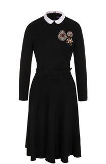 Платье-миди с контрастным воротником и поясом Ralph Lauren