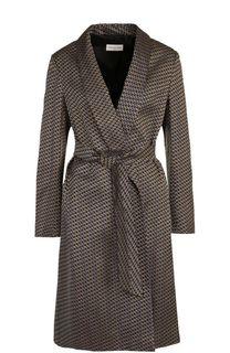 Пальто с поясом и принтом Dries Van Noten