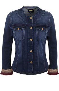Джинсовая куртка с укороченным рукавом и потертостями 7 For All Mankind