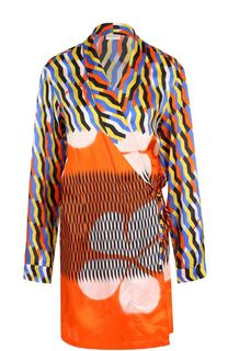 Блуза свободного кроя с принтом и запахом Dries Van Noten