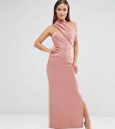 Платье макси на одно плечо с броской молнией ASOS PETITE - Розовый