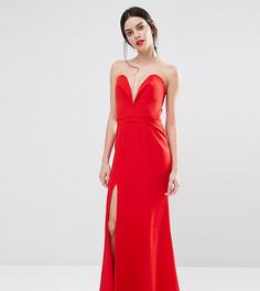 0099278f416 Платье макси с глубоким вырезом сердечком спереди Jarlo Petite Helena -  Красный