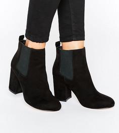 Ботинки челси на среднем каблуке для широкой стопы ASOS ROBYN - Черный
