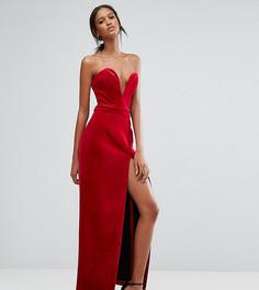Бархатное платье-бандо макси с вырезом сердечком и высоким разрезом TTYA - Красный Taller Than Your Average
