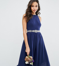 Платье миди с пышной юбкой и отделкой TFNC WEDDING - Темно-синий