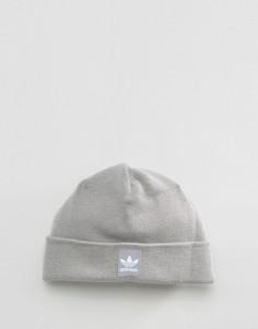 Шапка-бини в рубчик с логотипом Adidas - Серый
