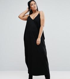 Платье макси с драпировкой ASOS CURVE - Черный