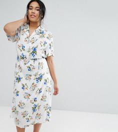 Чайное платье с цветочным принтом Unique 21 Hero - Темно-синий