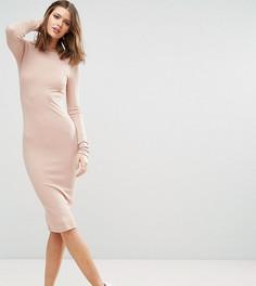 Облегающее платье миди в рубчик с длинными рукавами ASOS TALL - Розовый