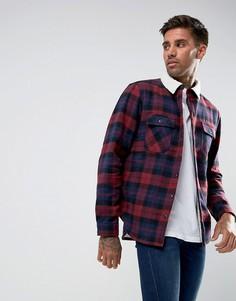 Клетчатая рубашка навыпуск с подкладкой из искусственного меха Another Influence - Красный