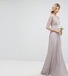 Плиссированное платье макси с длинными рукавами, кружевными вставками и отделкой на талии TFNC Tall - Серый