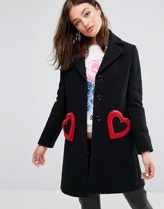 Приталенное пальто из ткани с добавлением шерсти с карманами в форме сердца Love Moschino - Черный
