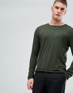 Тонкий джемпер из смеси хлопка и шелка Selected Homme - Зеленый