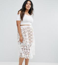 Кружевная юбка миди Missguided Plus - Белый