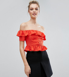 Топ на пуговицах с открытыми плечами и рюшами Fashion Union Tall - Красный
