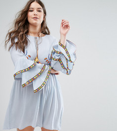 Короткое приталенное платье с вышивкой и ярусными оборками на рукавах Alice & You - Синий