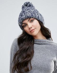 Меланжевая шапка-бини крупной вязки Alice Hannah - Темно-синий