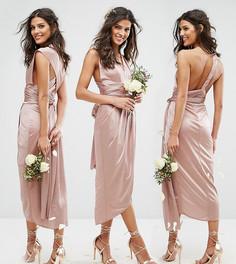 Платье-трансформер миди с запахом TFNC WEDDING - Коричневый