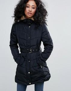 Пальто с поясом и воротником из искусственного меха Urban Bliss - Черный