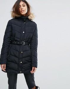 Стеганое пальто с поясом Urban Bliss - Черный